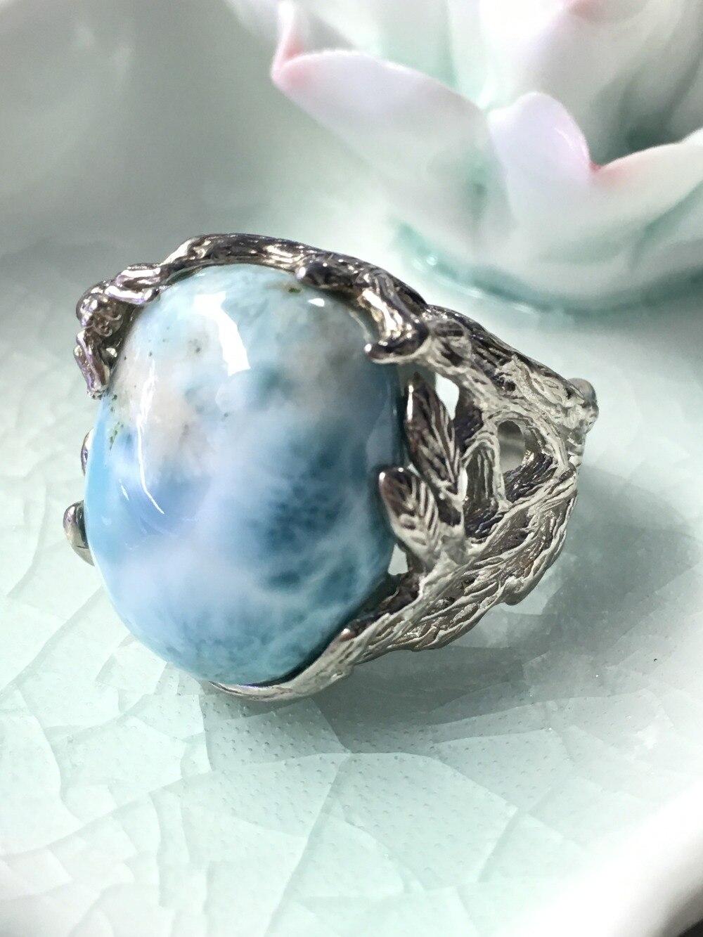 Ларимар натуральный серебряное кольцо, Овальный 15 мм * 20 мм, синий океан Цвет, лес стиль, модные ювелирные изделия для обувь для мужчин и женщ...