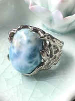 Natural Larimar Silver Ring Oval 15mm 20mm Blue Ocean Color Forest Style Trendy Jewelry For Men