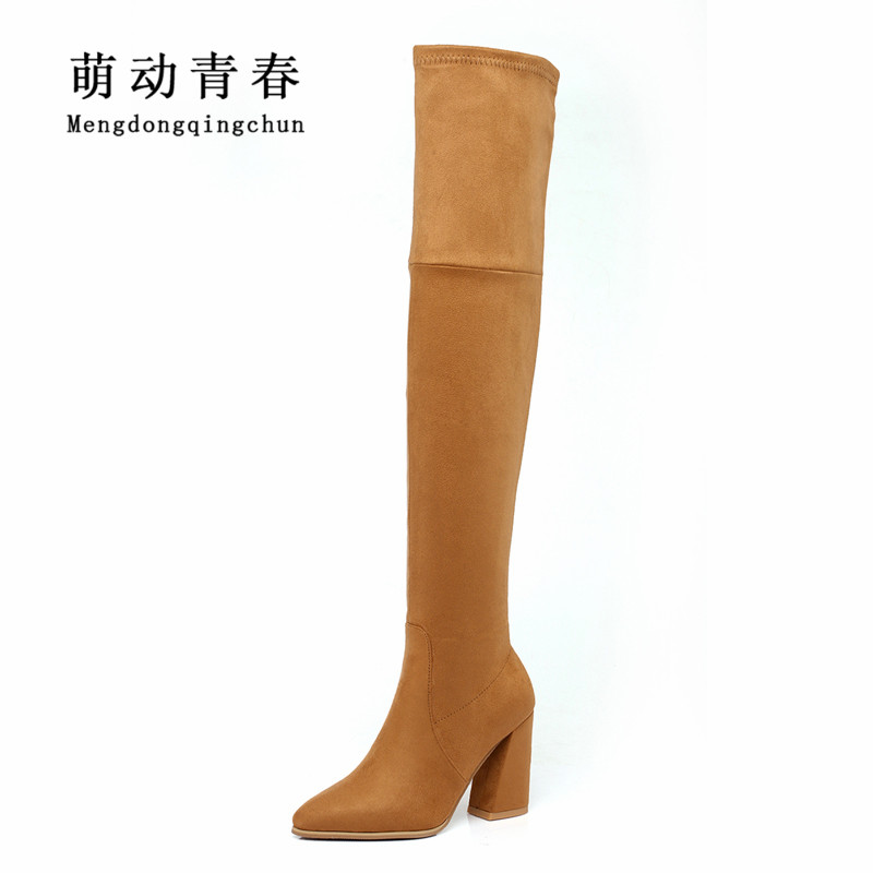 2018 New Fashion Women Boots Over the Knee Women Boots Slim Pointed Toe Stretch Chunky Heel Boots Women Winter Short Plush Boots