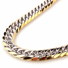 Trendy 11mm 13mm 16mm Wide Silver Gold Color Biker Men's Necklace Or Bracelet Curb Cuban Link Chain 7-40 Inches Stainless Steel