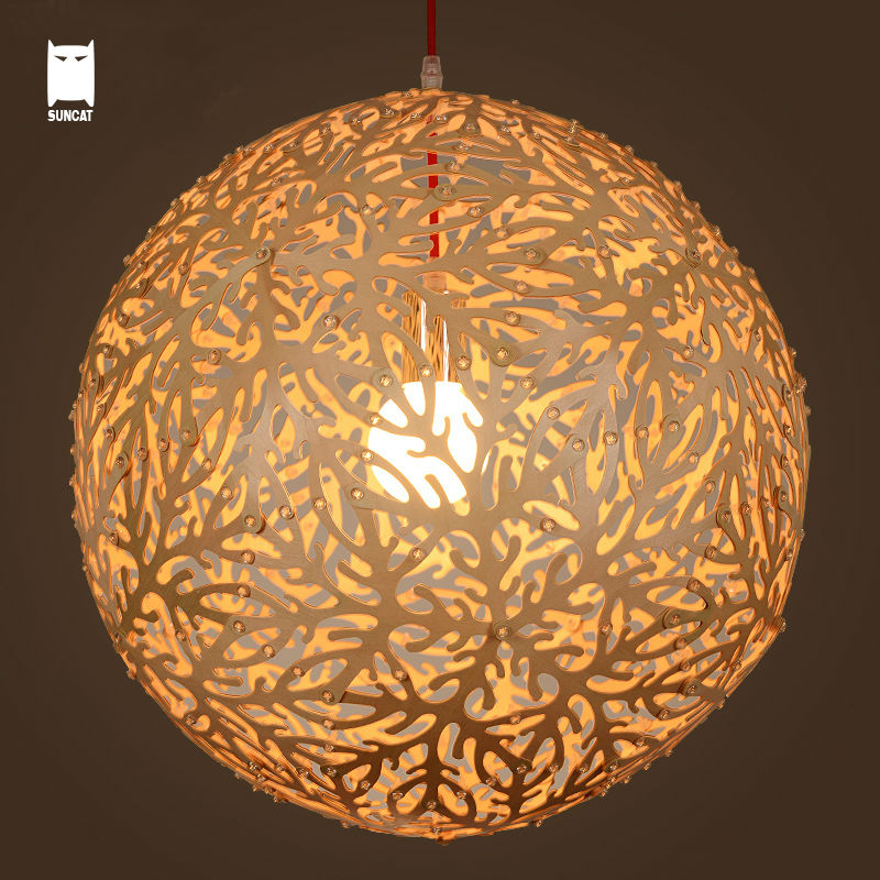 купить Wood Ball Coral Pendant Light Cord Fixture Modern Japanese Rustic Style Hanging Lamp Lustre Luminaria Dining Table Living Room дешево