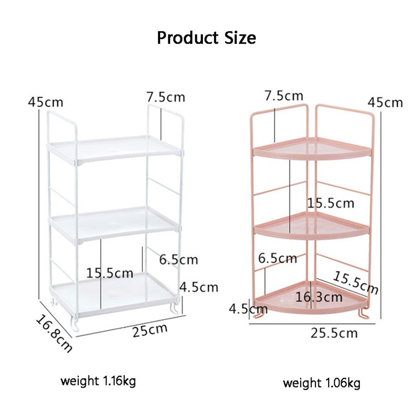 Image 5 - 3 Tiers Storage Shelf Bathroom Organizer Kitchen Rack Stand Holder Iron Bookshelf Desktop Plastic Storage Rack Corner Shelves-in Storage Holders & Racks from Home & Garden