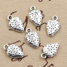 15pcs Charms two sided strawberry 17x10mm Antique Silver Plated Pendants Making DIY Handmade Tibetan Silver Jewelry(China)