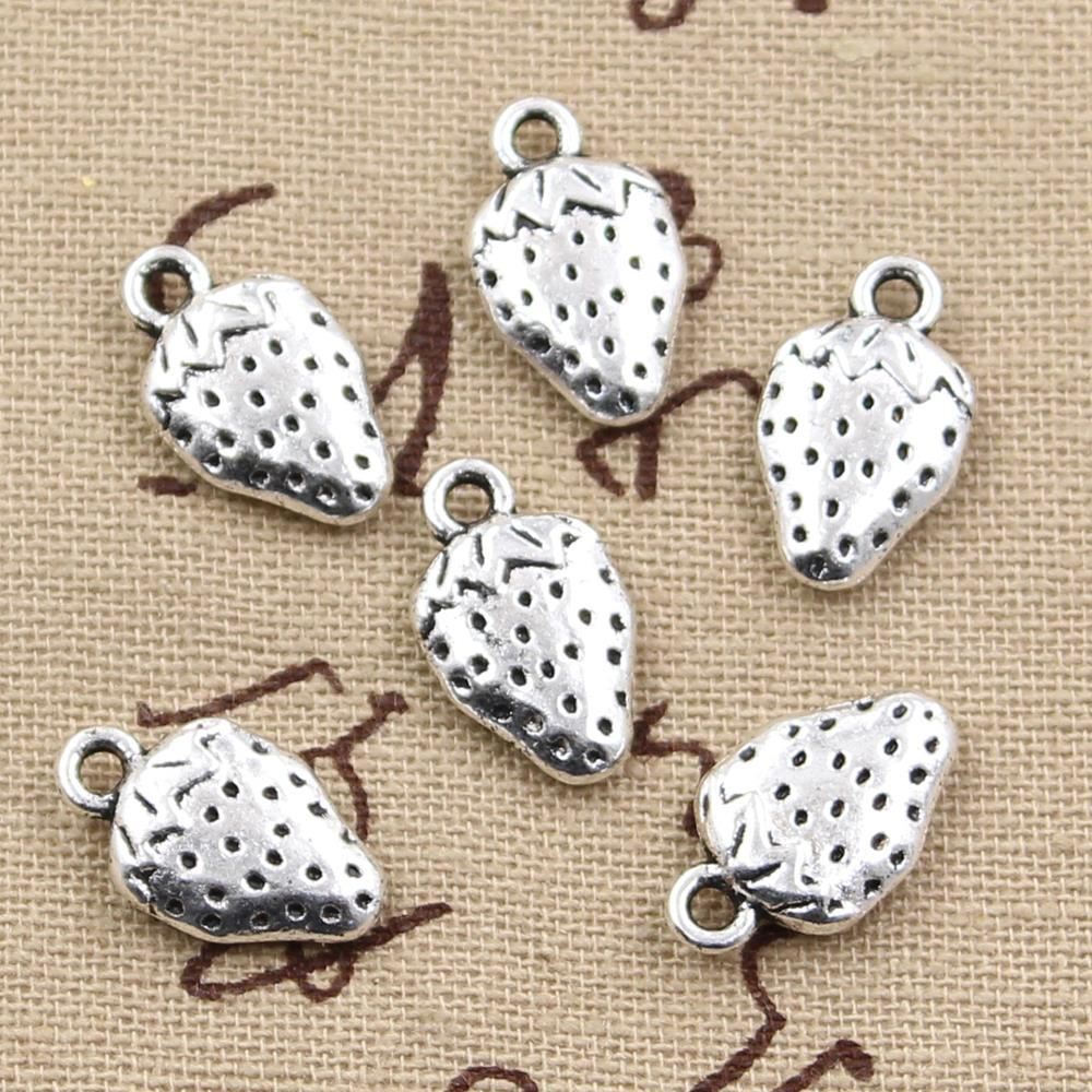 15pcs Charms two sided strawberry 17*10mm Antique Silver Plated Pendants Making DIY Handmade Tibetan Silver Jewelry