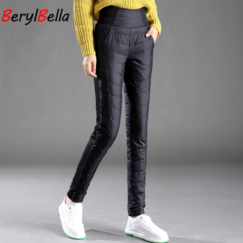 Image 3 - Casual Women White Duck Down Pants Winter Thick Warm Slim High 