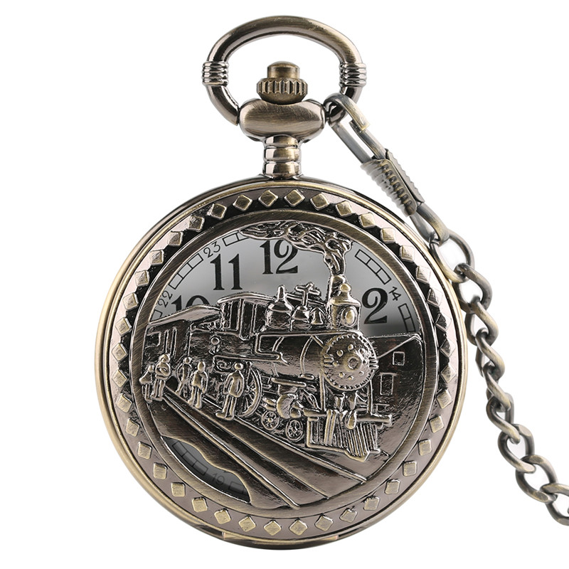 Retro Running Steam Train Front Locomotive Cover Quartz Pocket Watch Antique Style Fashion Men Women Chain Jewelry FOB Clock retro big pocket watches with fob chain running steam train antique style quartz watch pendant unisex gifts relogio de bolso