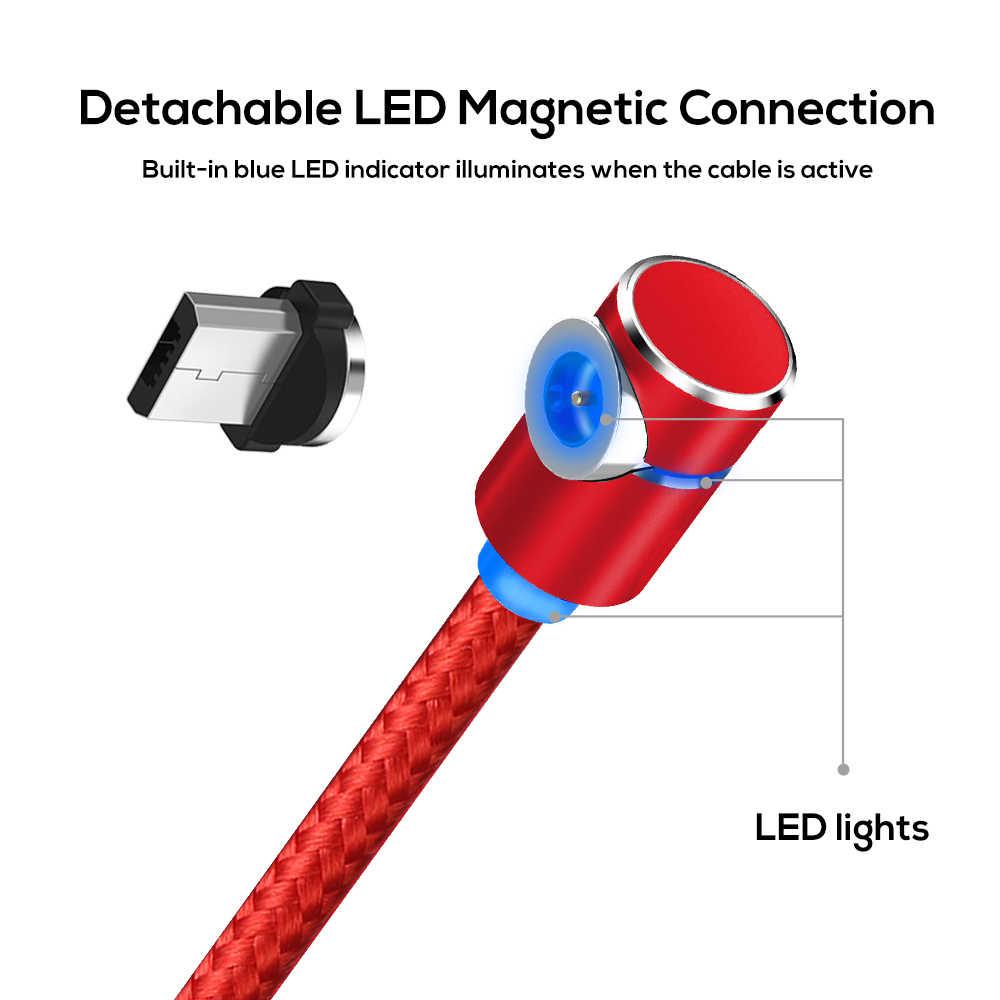 TOPK 90 Gradi L Tipo Magnetico Cavo, LED Magnete Cavo del Caricatore per il iPhone Xs Max X 8 7 5 e Micro Cavo USB e USB Tipo- C USB C