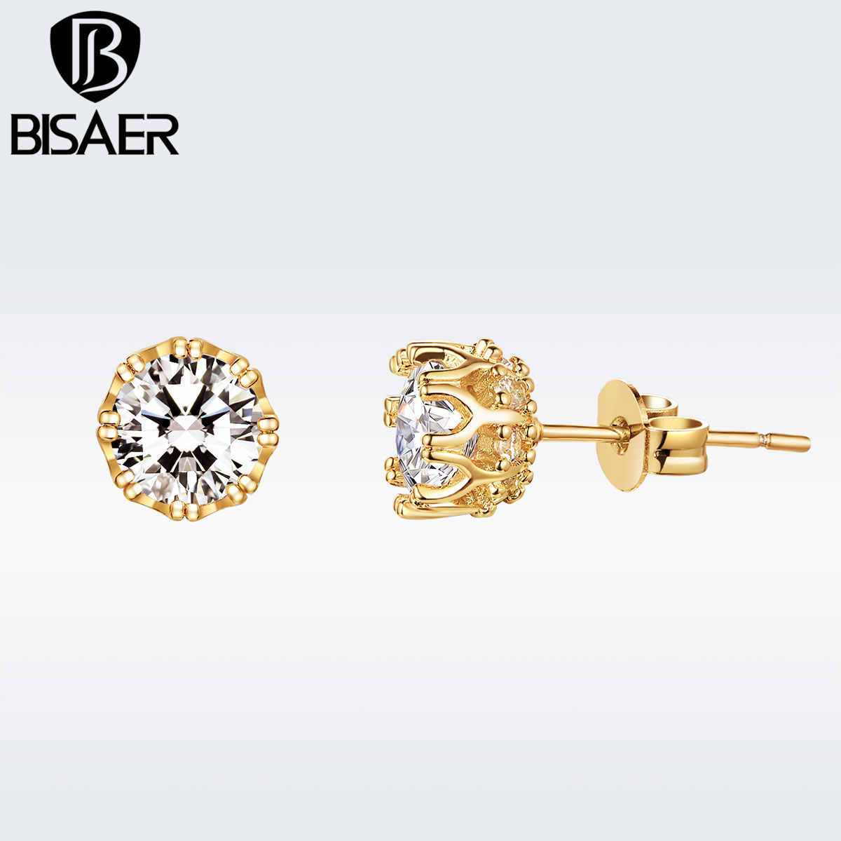 BISAER Clear CZ Gold Color Vintage Stud Earrings for Women Wedding Jewelry Bijoux GSE129