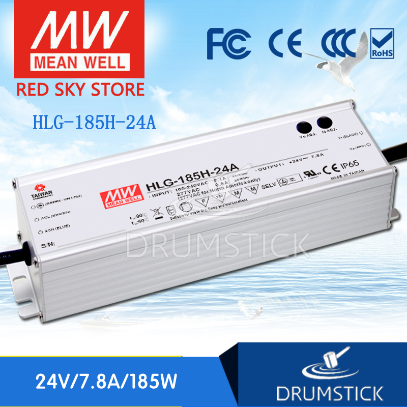 цена на Best-selling MEAN WELL HLG-185H-24A 24V 7.8A meanwell HLG-185H 187.2W Single Output LED Driver Power Supply A type