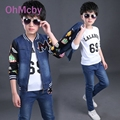 OhMcby Spring Autumn Outwear Children Letter Print 3 Pcs Sets Boys Clothing Set Denim Coat Shirt and Pant Suit Kids Sport Suit