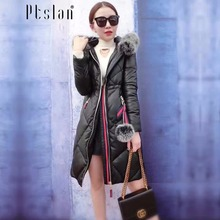 Ptslan 2016 Women s Genuine Leather Jacket Zipper Closure Real Lambskin Down Coat