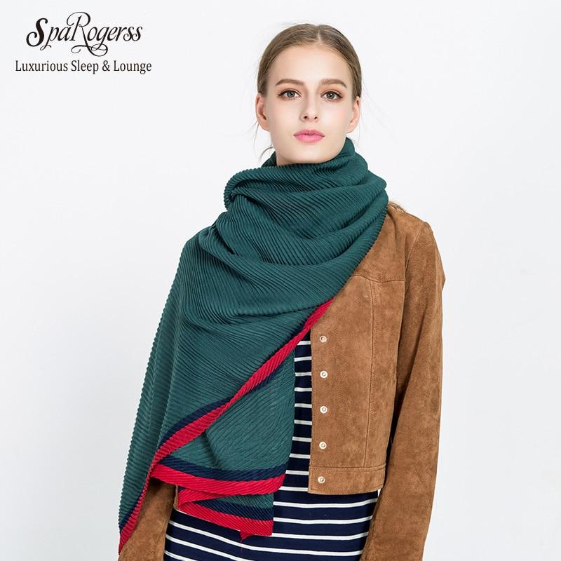 SpaRogerss 160cm Women Shawl Original Design 2017 Winter Crumple Scarf Color Ladies Warm Woman Scarf Fashion Shawl MT1700