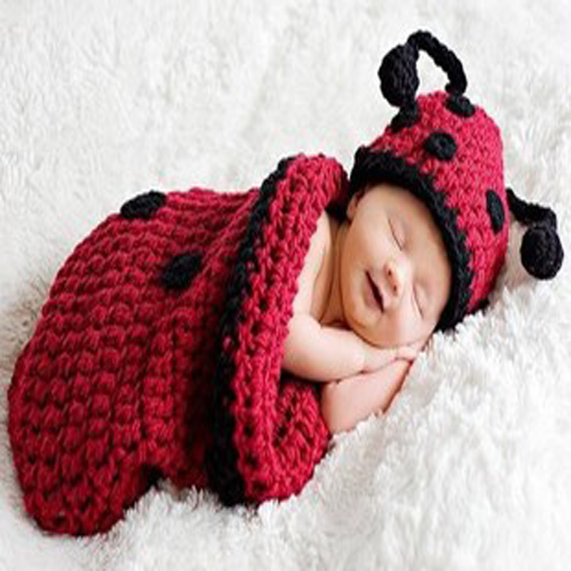 Hand-knit Beetle Models Infant Crochet Wool Warm Knitting Sleeping Newborn Baby Pictures ...