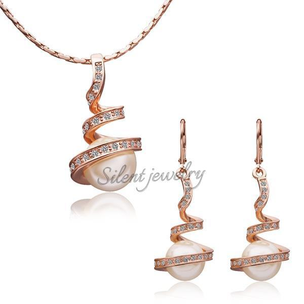 268a6870091 free shipping Stylish yellow gold indian Wholesale unique design 18k gold  jewelry set Hot sale yellow pearl jewellery-in Jewelry Sets from Jewelry ...