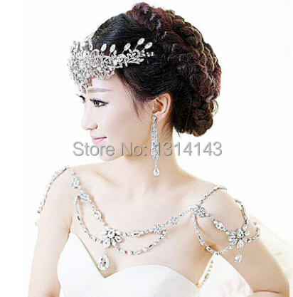 New Fashion Bride Jewelry vintage Wedding Accessories Bridal Shoulder Chain big Necklace crystal shoulder strap