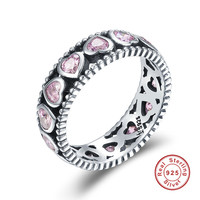 Authentic 925 Sterling Silver Stackable Ring Radiant Heart Pink Crystal Cubic Zirconia Finger Rings For Women