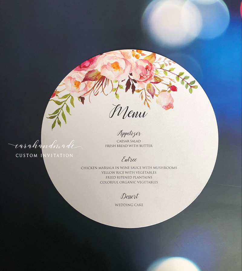 Customized Watercolor Floral Round Circle Menu Card
