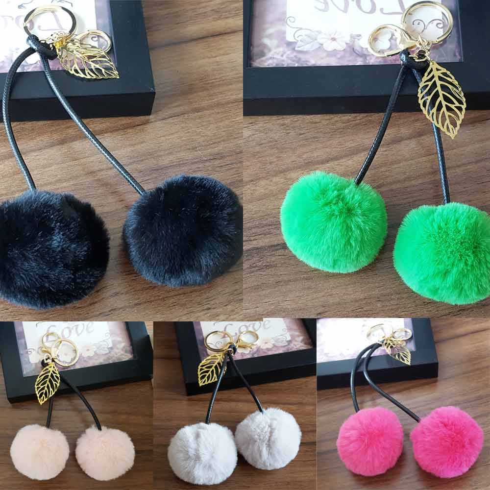 Double Pompom Bag Keychains Trinket Pompons Keychains Fur Cherry Keychain Fluffy Key Chains Findings For Car Key Pendant se213