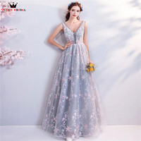 A line V neck Lace Beading Long Formal Elegant Silver Evening Dresses 2018 New Arrival Party Prom Dress Evening Gowns WS32