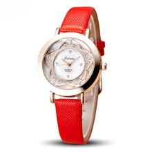 Personnalisé Dame Montre-Bracelet À Quartz Femme Heures Best Dress Fashion Corée Bracelet montre Marque En Cuir fleur Cristal montres