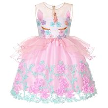 Baby Girls Clothes Kids Unicornio Dress for Girls Embroidery Flower Ball Gown Baby Girl Unicorn Dress Children Party Costumes