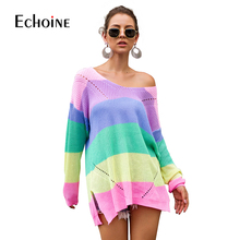 Casual Rainbow Striped Sweater Women V-Neck 2019 New Fall Winter Long Sleeve Knit Loose Pullovers Jumper Sexy Oversized Sweaters все цены