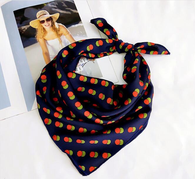 Silk   Scarf   Women 60*60cm 2019 Spring Autumn Dot Point Small Square   Scarves   Female Headband Wrist   Wrap   Square Head   Scarves     Wraps