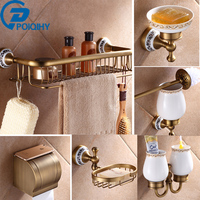 Bathroom Accessory Antique Brass Luxury Paper Holder Toilet Brush Rack Commodity Basket Shelf Soap Dish Towel Ring & Hair Dryer