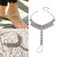 Womens Antique Silver Sandal Barefoot Jewelry Foot Toe Harness Chain Ankle Bracelet Anklet