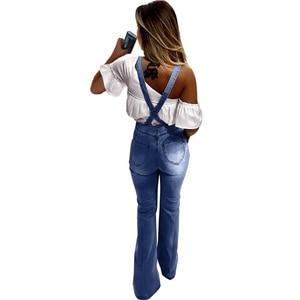 Image 3 - Primavera Verano pantalones vaqueros de pierna ancha Mono para mujer elegante femenino cintura alta campana inferior Jeans monos de talla grande