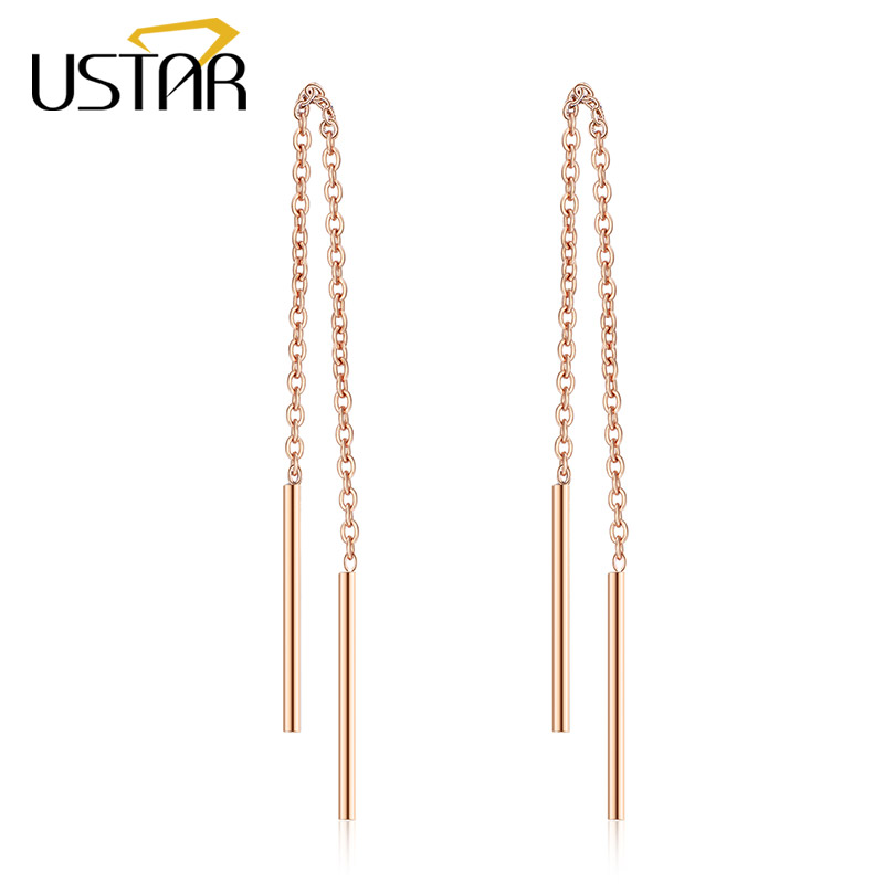 USTAR long chian Drop Earring for Women Rose gold color Fashion Jewelry Earrings female Ear brincos top quality