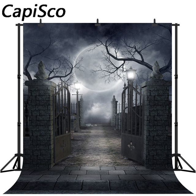 Capisco seamless Halloween dark night party photography backdrops smokey black mist foggy iron gate spooky photo backgrounds