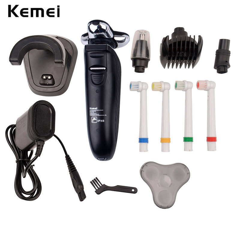Kemei Men shaver 4 IN 1 Electric Razor Rechargeable Washable 4 blades Hair Trimmer clipper Beard cutting shaving machine for men kemei new km 580a 7 in 1 electric shaver razor men shaving machine rechargeable nose ear hair trimmer clipper afeitadora eu plug