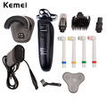 Kemei Men shaver 4 IN 1 Electric Razor Rechargeable Washable 4 blades Hair Trimmer clipper Beard cutting shaving machine for men