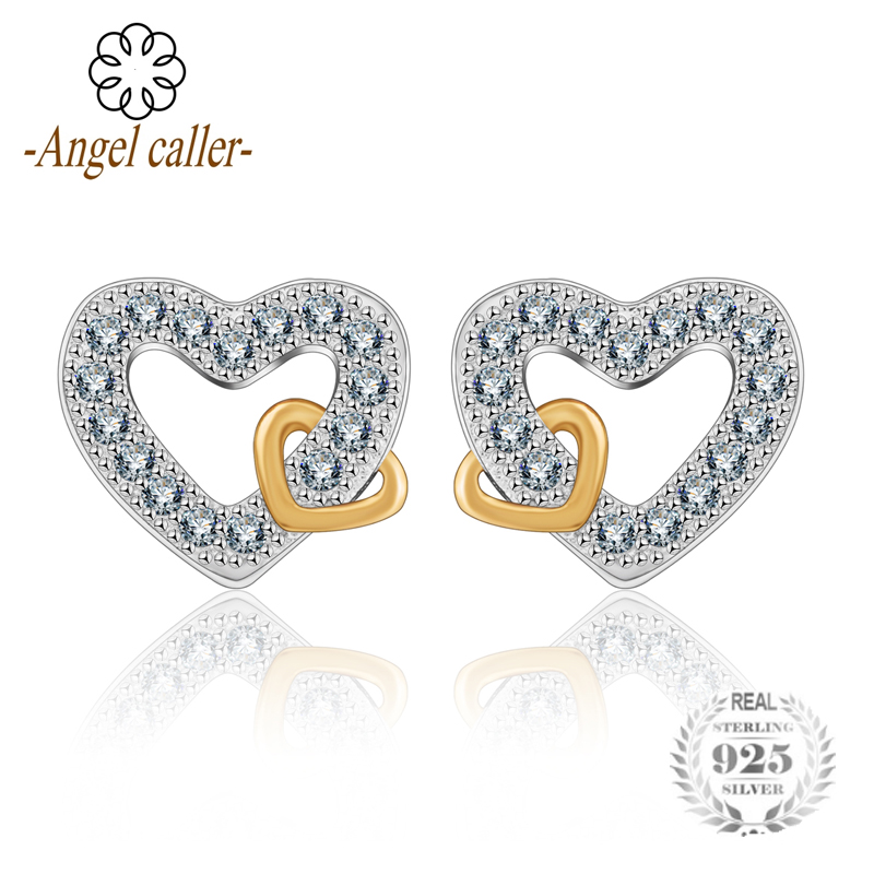 Angel Caller 925 Sterling Silver Heart Stud Earrings Romantic Shining White AAA Zirconia Women Bridal Engagement Jewelry CYD022