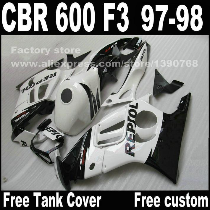 Motorcycle parts for HONDA CBR 600 F3 fairings 1997 1998 CBR600 F3 97 98 white black REPSOL fairing kit  O3 hot sales all white for honda vtr1000f 97 05 97 98 99 00 01 02 03 04 05 vtr1000 f vtr 1000 f 1000f 1997 2005 fairing