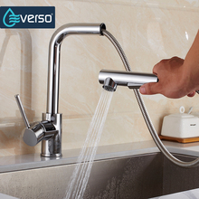 EVERSO Kitchen Faucet Pull Out Sink Mixer Tap Kitchen Taps Spray Head Deck Mounted 360 Swivel Torneira De Cozinha new design 360 degree swivel kitchen faucet brass made kitchen sink mixer tap torneira cozinha kitchen tap