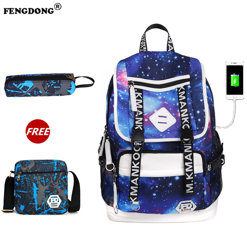 FENGDONG Women Space Backpack Male Brand Waterproof Cool Designer Backbag Youth School Bags For Teenagers Or Girl USB Charge fengdong men backpack oxford youth fashion brand usb charge designer back pack college bags school bag waterproof backpacks male
