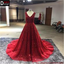 Venta caliente cristalino largo vestido de noche a medida granos cristalinos de la gasa partido vestido de fiesta vestido para mujeres vestido de festa
