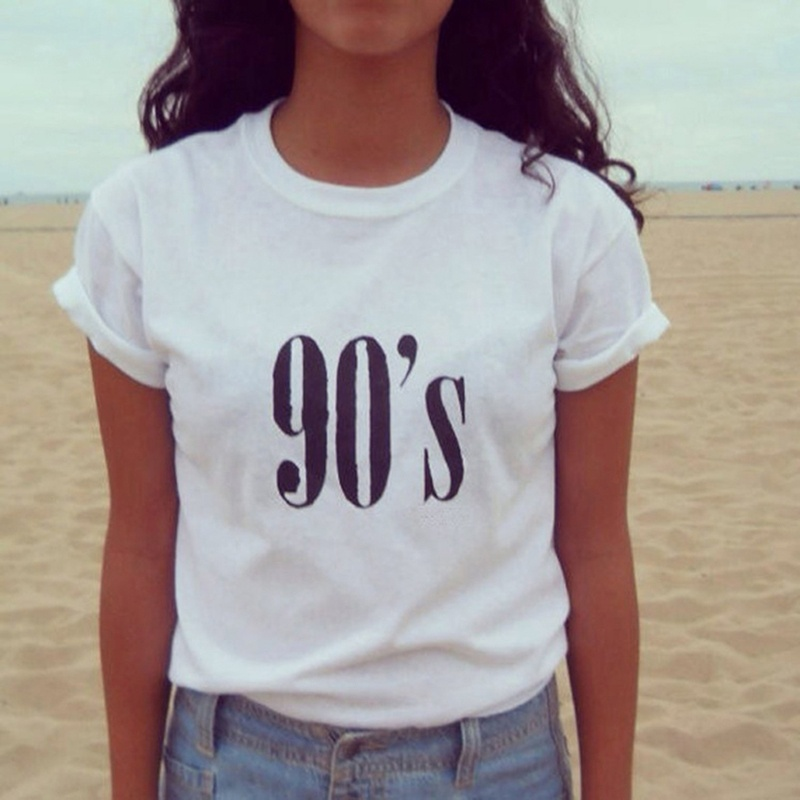 818f8bec7 2019New las mujeres camiseta de los años 90 carta Impresión de verano de  algodón de manga corta ...
