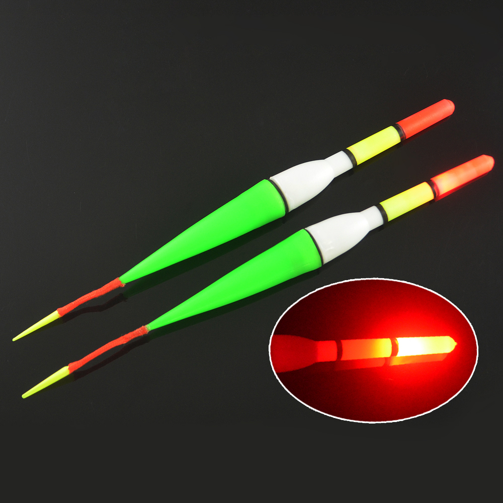 Mnft 2pcs night fish fishing plastic float bobber red for Best light for night fishing