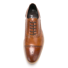 High Quality Men Oxfords Shoes British Style Carved Genuine Leather Shoe Brown Brogue Shoes Lace-Up Bullock Business Men's Flats