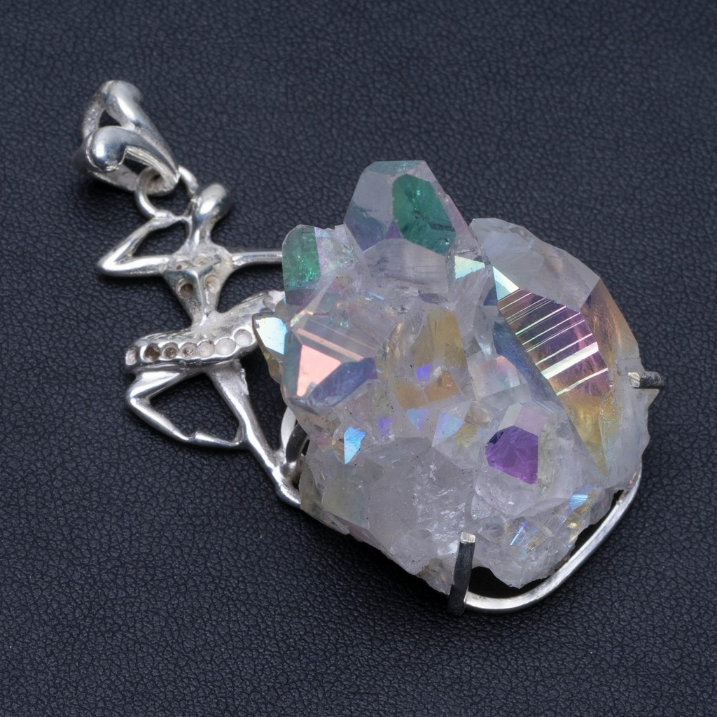 Natural Huge Angle Rainbow Opal Aura Quartz and Amethyst 925 Sterling Silver Pendant 2 5/8 PS021Natural Huge Angle Rainbow Opal Aura Quartz and Amethyst 925 Sterling Silver Pendant 2 5/8 PS021