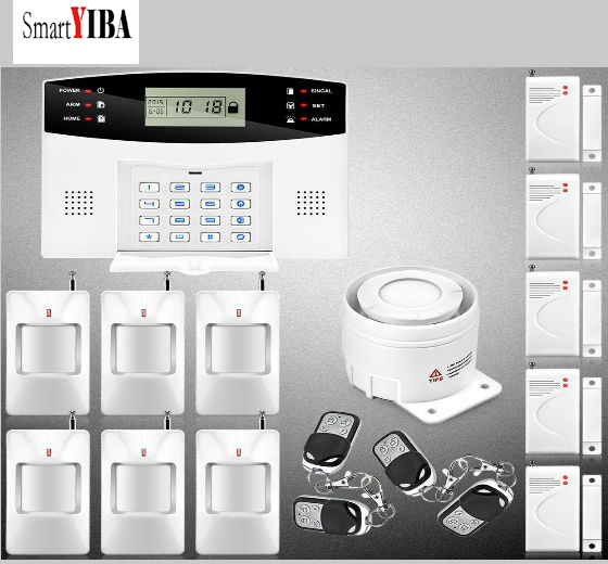 SmartYIBA Wireless Smart GSM Alarm Security System House Intelligent Auto Burglar Door Security PIR Motion Alarm Systems smartyiba russian spanish french wireless sms home gsm alarm system house intelligent auto burglar door security alarm systems