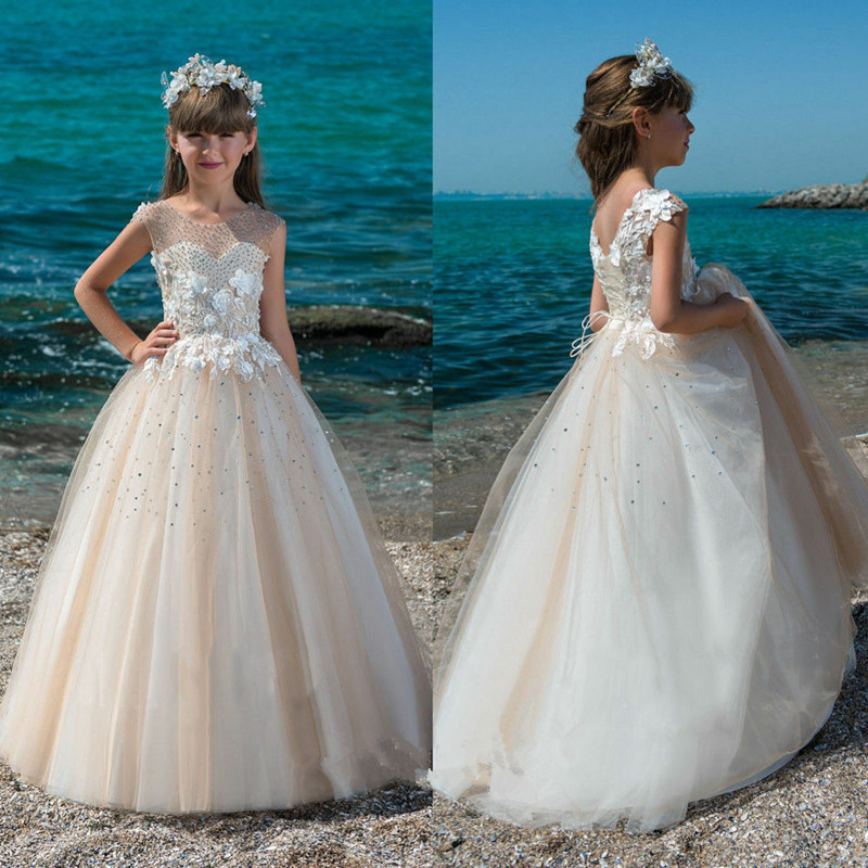Flower Girl Dresses For Weddings Crystal Applique Beading Kids Evening Gown First Communion Dresses For