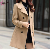 PULABO Women's Double Breasted Slim Solid Wool Blend Winter Pea Coats Winter Long Coat Women Ropa Mujer Invierno Female Jacket