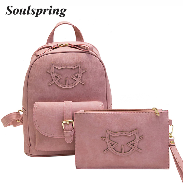 Cute PU Leather Backpack Women Cat Cotton School Bags For ...