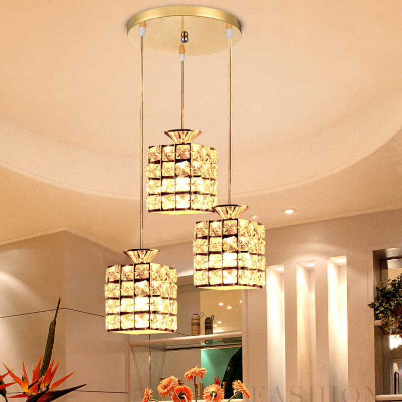 ФОТО Restaurant lamp three head 3 modern simple crystal lamp dining room light fashion creative personality pendant light