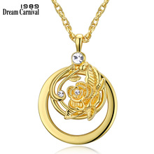 DC1989 Trendy Flower Shape Women Necklace Optical Chain with 2X Zoom Magnifier Lens Library Reading Rhodium & Gold-color