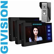 """7 """" teléfono Video de la puerta sistemas de intercomunicación timbre de interfono 3 monitores 1 exterior de la puerta de visión nocturna de la cámara de la llave del tacto"""